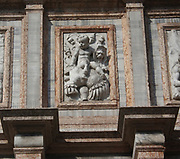 Relief at the base of the campanile in st marks square, Venice, Italy. The relief by Jacopo Sansovino created in 1540