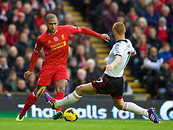 09.11.2013, Anfield, LIVERPOOL, ENG, Premier League, FC Liverpool vs FC Fulham, 11. Runde, im Bild Liverpool's Glen Johnson, action // during the English Premier League 11th round match between Liverpool FC and Fulham FC at Anfield in LIVERPOOL, Great Britain on 2013/11/09. EXPA Pictures © 2013, PhotoCredit: EXPA/ Propagandaphoto/ David Rawcliffe<br /> <br /> *****ATTENTION - OUT of ENG, GBR*****