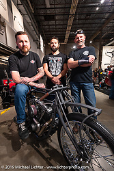 Chris Moos with a new Motorcycle Missions Shovelhead and Motorcycle Missions members at the Handbuilt Show. Austin, TX. USA. Saturday April 21, 2018. Photography ©2018 Michael Lichter.