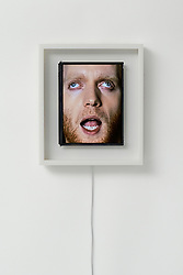 """August 7, 2017 - inconnu - Here's a new way to enjoy face-time.It's a set of clocks featuring moving human faces.The left and right eyes act as hands, looking in the direction the hand would face. The mouth opens and closes as the seconds counter, also making the sound of a clock's ticks.The clock is literally a screen that displays a human face. Japananese creative studio We+ made the quirky clock by video-recording real human faces in three separate films – each eye and mouthThe team then merged them seamlessly together in a 24 hour looped video. Tokyo-based We+ is made up of designers Hokuto Ando and Toshiya Hayashi.They develop their experimental approach to products, installations and graphics, by combining unconventional materials and technology to shift perspectives. The said:"""" Patience clock which uses a human face to represent the passage of time. """"The eyes work in the same way as an analogue clock's hands, with the right eye indicating hours and the left eye indicating minutes. """"The mouth opens and closes to represent seconds # HORLOGES AVEC DES VISAGES HUMAINS (Credit Image: © Visual via ZUMA Press)"""