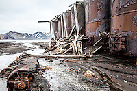 Rusting relics of the former whaling station at Port Foster on Deception Island, Antarctica.