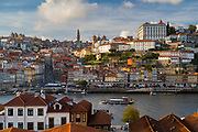 Rabelo port wine barge and historic river front of the Ribeira region of Porto from Vila Nova de Gaia in Portugal