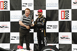 April 23, 2018 - Birmingham, Alabama, United States of America - JAMES HINCHCLIFFE (5) of Canada celebrates in victory lane after finishing 3rd in the Honda Grand Prix of Alabama at Barber Motorsports Park in Birmingham, Alabama. (Credit Image: © Justin R. Noe Asp Inc/ASP via ZUMA Wire)