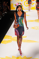 A model walks the runway wearing Desigual Spring 2015 during Mecedes-Benz Fashion Week in New York on September 4th, 2014