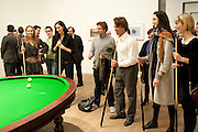 INDIA WATERS; KATE TOMLINSON; CRISPIN SOMERVILLE; PATRICIO FORRESTER; LILY COLE; ILLY FRAITURE PLAYING Gabriel Orozco's 'Carambole with a Pendulum?  (an oval-shaped billiard table with no pockets ), Gabriel Orozco reception, Tate Modern, London. 18 January 2010. .-DO NOT ARCHIVE-© Copyright Photograph by Dafydd Jones. 248 Clapham Rd. London SW9 0PZ. Tel 0207 820 0771. www.dafjones.com.