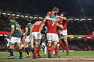 Justin Tipuric of Wales (7) celebrates with his teammates inc Dan Biggar (top) and Leigh Halfpenny (r) after he scores his teams 2nd try. Under Armour 2016 series international rugby, Wales v South Africa at the Principality Stadium in Cardiff , South Wales on Saturday 26th November 2016. pic by Andrew Orchard, Andrew Orchard sports photography