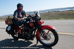 Land-speed record holder Jody Perewitz rode a 1926 Harley-Davidson JD she painted herself (no retro paint job here) on the Motorcycle Cannonball coast to coast vintage run. Stage 8 (314 miles) from Spirit Lake, IA to Pierre, SD. Saturday September 15, 2018. Photography ©2018 Michael Lichter.