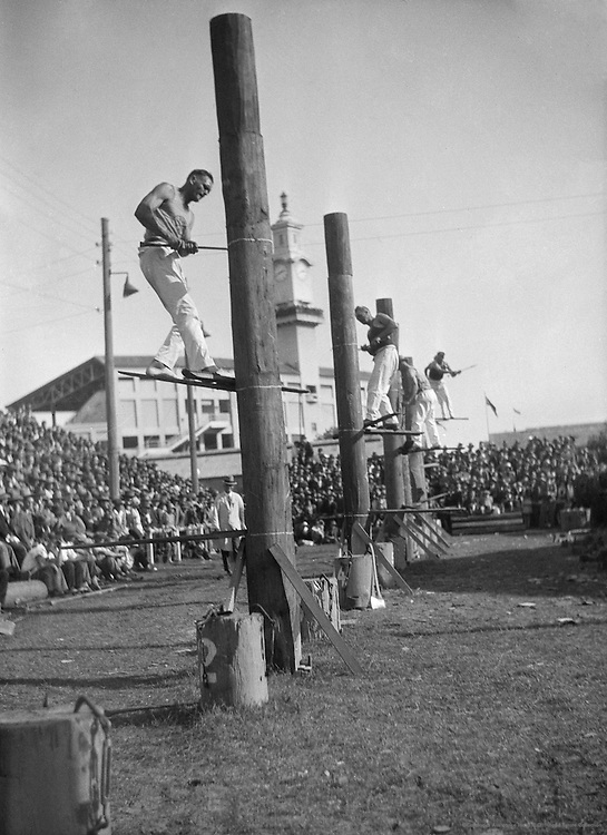 Watching Tree Felling Competition, Royal Agricultural Show, Sydney, Australia, 1930