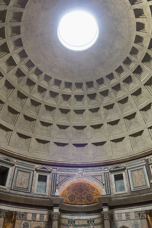 The Pantheon interior, a former Roman temple, now a church, commissioned by Marcus Agrippa during the reign of Augustus