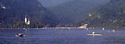 Bled, Slovenia, YUGOSLAVIA. General View looking down the course, 1989 World Rowing Championships, Lake Bled. [Mandatory Credit. Peter Spurrier/Intersport Images]