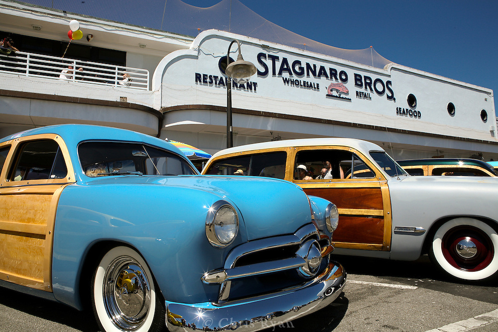 Woodies on the Wharf in front of Stagnaro Brothers Restaurant, Santa Cruz, California