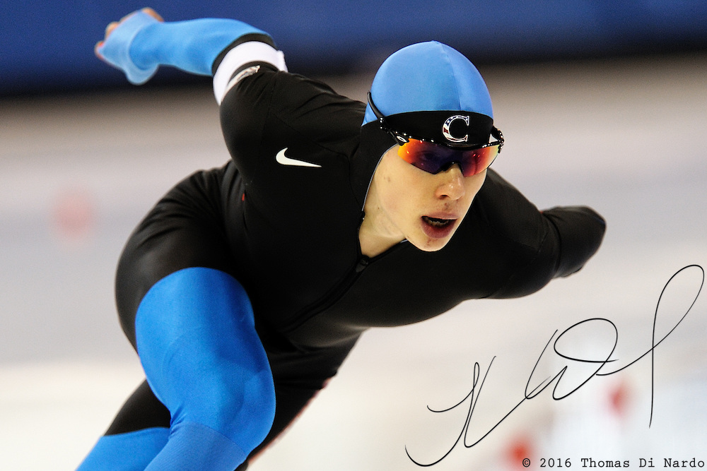 December 29, 2009 - Kearns, UT - Brian Hansen skates to third place overall in the 1500m distance. Hansen's 3rd place finish secured his spot on the US Olympic Team for the 1500m distance in the 2010 Winter Games in Vancouver, Canada.