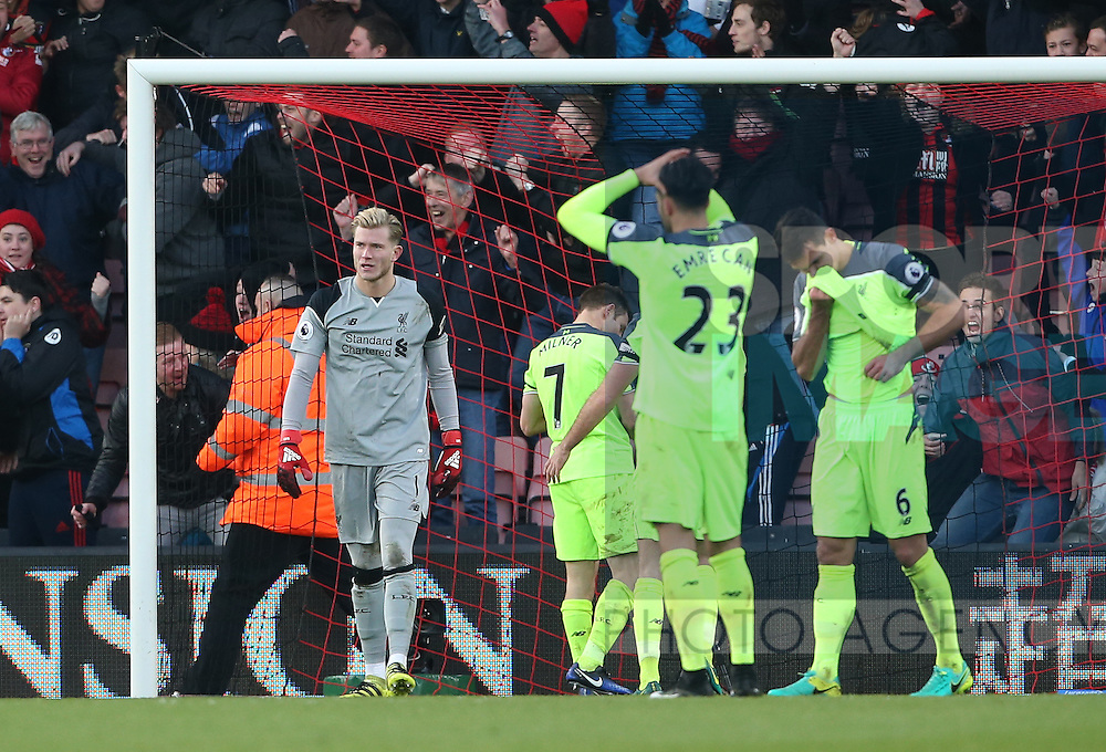 Liverpool's Loris Karius looks on dejected after his mistake gives Bournemouth's their fourth goal during the Premier League match at the Vitality Stadium, London. Picture date December 4th, 2016 Pic David Klein/Sportimage