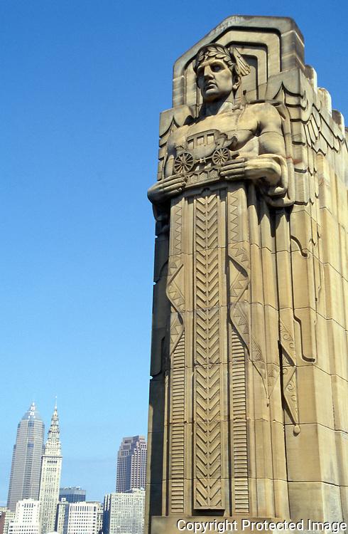 Transportation God on Lorain Carnegie bridge crossing the Cuyahoga river in Cleveland