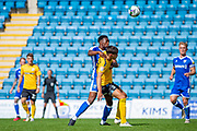 Gillingham FC midfielder Matty Willock (7) and  Southend United midfielder Isaac Hutchinson (17) during the EFL Cup match between Gillingham and Southend United at the MEMS Priestfield Stadium, Gillingham, England on 5 September 2020.