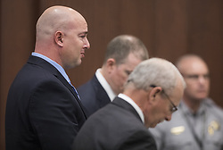 May 13, 2019 - USA - Cameron Broadwell, the Wake County Sheriff's deputy facing charges for releasing a K-9 unit dog on unarmed Kyron Hinton last year, chokes up as he pleads guilty to misdemeanor charges on Monday, May 13, 2019. Broadwell has to permanently surrender his law enforcement certification as a part of his plea deal. (Credit Image: © TNS via ZUMA Wire)