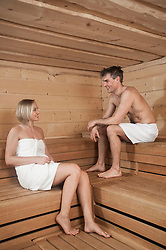 Man and woman in a sauna