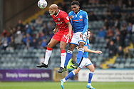 Josh Parker challenged by Kgosi Nthle during the EFL Sky Bet League 1 match between Rochdale and Gillingham at Spotland, Rochdale, England on 23 September 2017. Photo by Daniel Youngs.