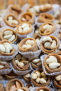 Shelled hazelnuts and cashew nuts in Misir Carsisi Egyptian Bazaar food and spice market in Istanbul, Turkey