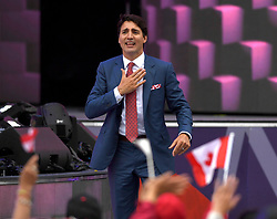 Prime Minister Justin Trudeau stands up as he acknowledges Alberta and Albertans during the Canada Day noon hour show on Parliament Hill in Ottawa on Saturday, July 1, 2017. Photo by Justin Tang/CP/ABACAPRESS.COM