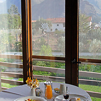 South America, Peru, Urubamba. Room Service Breakfast at Tambo del Inka Resort & Spa in the Sacred Valley.
