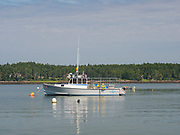 Morning view of lobster boats in Ripley Cove, Maine, USA.