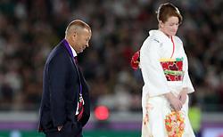 England head coach Eddie Jones after the 2019 Rugby World Cup final match at Yokohama Stadium.