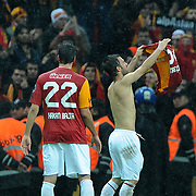 Galatasaray's Emre Colak celebrate victory during their Turkish superleague soccer derby match Galatasaray between Fenerbahce at the TT Arena in Istanbul Turkey on Friday, 18 March 2011. Photo by TURKPIX