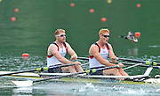 Bled, SLOVENIA,  Bow,Matt WELLS and Marcus BATEMAN, GBR M2X. move away from the start in their heat on the opening day, FISA World Cup, Bled venue, Lake Bled.  Friday  28/05/2010  [Mandatory Credit Peter Spurrier/ Intersport Images]