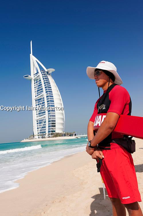 View of Burj al Arab hotel and beach lifeguard  in Dubai in United Arab Emirates