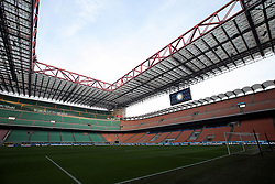 January 13, 2019 - Milan, Milan, Italy - General view of the San Siro Stadium empty (the fans of Internazionale are disqualified for racist racist shouts) prior to the Coppa Italia match between FC Internazionale and Benevento Calcio at Stadio Giuseppe Meazza on January 13, 2019 in Milan, Italy. (Credit Image: © Giuseppe Cottini/NurPhoto via ZUMA Press)
