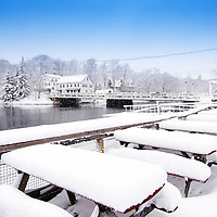 Schooner Landing dockside dining area on the Damariscotta River, February 5, 2015.