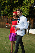 ZADIE SMITH; NICK LAIRD, The Serpentine Summer Party 2013 hosted by Julia Peyton-Jones and L'Wren Scott.  Pavion designed by Japanese architect Sou Fujimoto. Serpentine Gallery. 26 June 2013. ,
