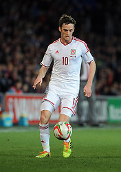 Andy King of Wales (Leicester City) - Photo mandatory by-line: Dougie Allward/JMP - Tel: Mobile: 07966 386802 03/03/2014 -