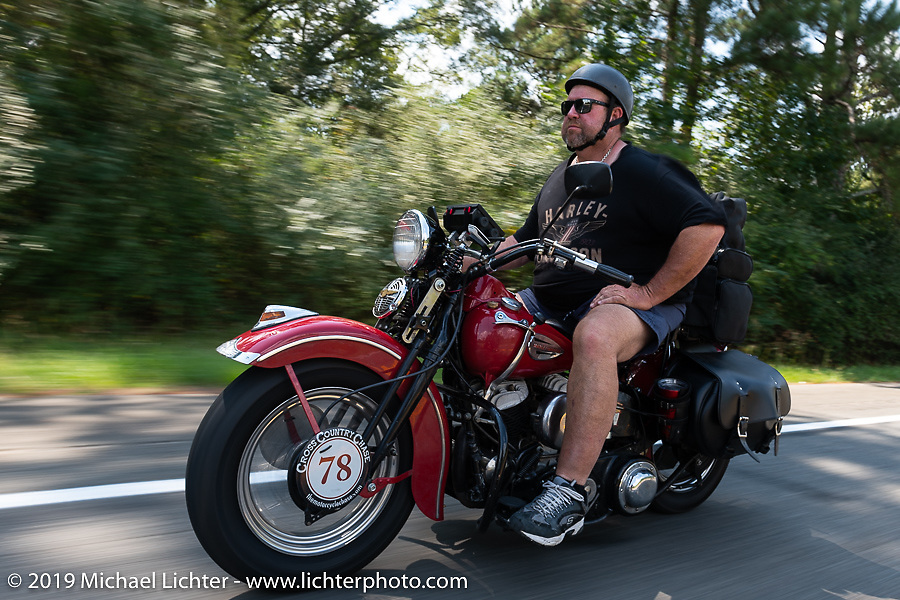 Curtis Venable riding his 1940 Harley-Davidson ULH Flathead in the Cross Country Chase motorcycle endurance run from Sault Sainte Marie, MI to Key West, FL. (for vintage bikes from 1930-1948). Stage-6 from Chattanooga, TN to Macon, GA USA covered 258 miles. Wednesday, September 11, 2019. Photography ©2019 Michael Lichter.