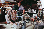 Cryonics experiment on a hamster conducted in a garage laboratory in Berkeley, California, by Paul Segall (left) and Sternberg. Cryonics is a speculative life support technology that seeks to preserve human life in a state that will be viable and treatable by future medicine. Cryonics involves the freezing of whole human bodies, organs or pet cats & dogs, and their preservation in liquid nitrogen to await a future thaw. MODEL RELEASED 1988..
