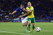 Seamus Coleman of Evertonand Steven Naismith of Norwich City battle for the ball. EFL Cup, 3rd round match, Everton v Norwich city at Goodison Park in Liverpool, Merseyside on Tuesday 20th September 2016.<br /> pic by Chris Stading, Andrew Orchard sports photography.