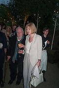 SIR PETER BLAKE; LADY BLAKE, Serpentine Summer party 2012 sponsored by Leon Max. Pavilion designed by Herzog & de Meuron and Ai Weiwei. Kensington Gardens. London. 26 June 2012.
