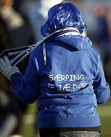 """Fotball 7. november 2010, Adeccoligaen , 1. divisjon<br /> Sarpsborg 08 - Alta 4-0<br /> Sarpsborg er klar for Tippeligaen , Eliteserien 2010<br /> <br /> illustrasjon , , fan , fans , tilskuere , tilskuer , tifo, <br /> """" Særping te jæ dør """""""