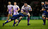 Rugby Union - 2019 / 2020 European Rugby Heineken Champions Cup - Pool Two: Sale Sharks vs. Exeter Chiefs<br /> <br /> Dave Dennis of Exeter Chiefs and Faf De Klerk of Sale  at AJ Bell Stadium.<br /> <br /> COLORSPORT/LYNNE CAMERON
