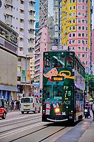 Chine, Hong Kong, Hong Kong Island, tramway sur Johnston Road // China, Hong-Kong, Hong Kong Island, tram on Johnston Road