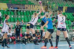 Harma van Kreij of Slovenia, Silje Katrine Waade and Emilie Hegh Arntzen of Norway  during handball match between RK Krim Mercator (SLO) and Vipers Kristiansand (NOR), on September 12, 2020 in Arena Stožice, Ljubljana, Slovenia. Photo by Sinisa Kanizaj / Sportida