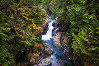 About 26 miles east of Seattle, the South Fork Snoqualmie River squeezes and thunders through rocky canyons and over the two spectacular waterfalls known as Twin Falls. This is the smaller upper falls after which the river continues for about a half mile to the 150-foot drop to the lower falls.