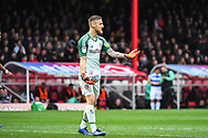 Brentford Goalkeeper Daniel Bentley (1) during the EFL Sky Bet Championship match between Brentford and Queens Park Rangers at Griffin Park, London, England on 2 March 2019.
