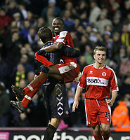 Photo: Mark Stephenson.<br /> West Bromwich Albion v Middlesbrough. The FA Cup. 27/02/2007.Middlesbrough's George Boateng (R) celebrates with his goal keeper Brad Jones and James Morrinson