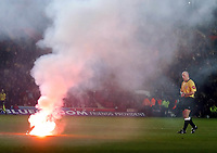 SOUTHAMPTON V MANCHESTER UNITED FAC6 12/03/05<br />GAME IS HALTED BY REFEREE  HOWARD WEBB AS A FLARE IS THROWN ON PITCH<br />Photo Roger Parker Fotosports International