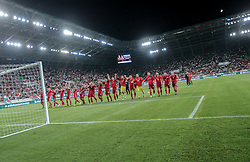 August 31, 2017 - Budapest, Hungary - Team Hungary thanks the support against their fans after the World Cup qualification match between Hungary and Latvia at Groupama Arena on Aug 31, 2017 in Budapest, Hungary. (Credit Image: © Robert Szaniszlo/NurPhoto via ZUMA Press)