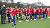 AERDENHOUT - 09-04-2012 - Vreugde bij Engeland, maandag na de finale tussen Nederland Jongens A en Engeland Jongens A  (3-3) , tijdens het Volvo 4-Nations Tournament op de velden van Rood-Wit in Aerdenhout. Engeland wint met shoot-outs. FOTO KOEN SUYK