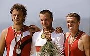 Barcelona Olympics 1992 - Lake Banyoles, SPAIN,  GER  M1X LANGE, Thomas, God medallist, TCH M1X CHALUPA, Vaclav Silver Medallist, POL M1X, BRONIEWSKI, Kajeta, Bronze maedallist, Peter Spurrier/Intersport Images.  Mob +44 7973 819 551/email images@intersport-images.com.       {Mandatory Credit: © Peter Spurrier/Intersport Images]..........       {Mandatory Credit: © Peter Spurrier/Intersport Images].........