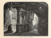 The Milk Grotto, Bethlehem from the book Picturesque Palestine, Sinai, and Egypt By  Colonel Wilson, Charles William, Sir, 1836-1905. Published in New York by D. Appleton and Company in 1881  with engravings in steel and wood from original Drawings by Harry Fenn and J. D. Woodward Volume 1